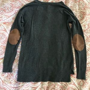 The Limited gray V neck sweater with elbow patches